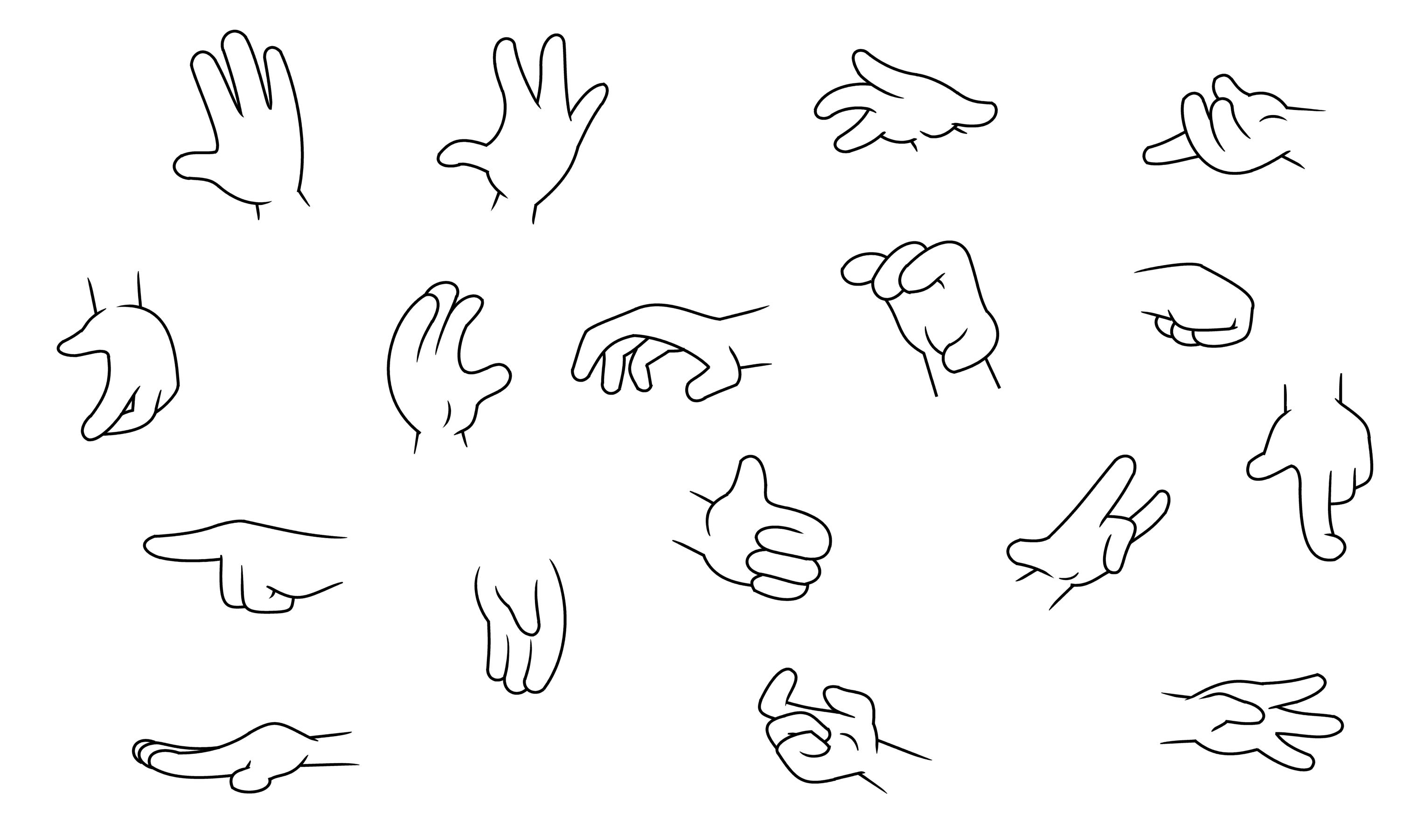 Quatro Dedos Mãos dos desenhos animados