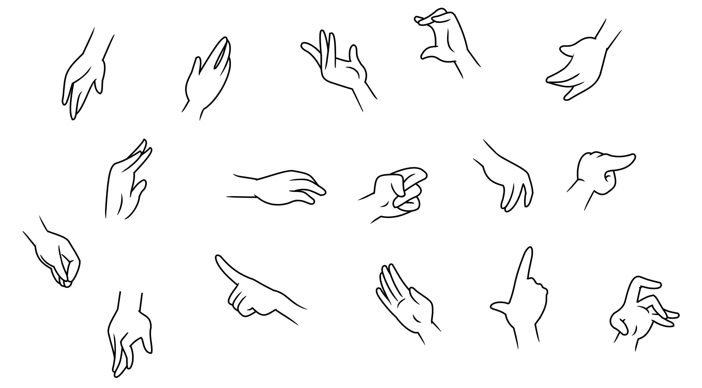 Senhoras mãos dos desenhos animados