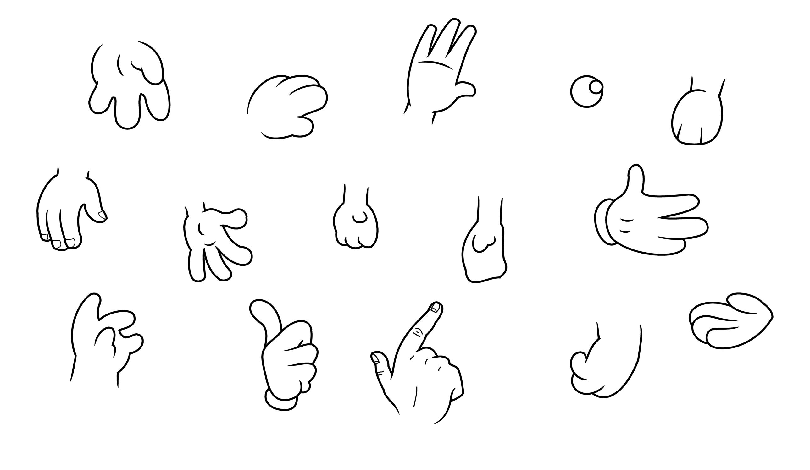 Mão Estilos dos desenhos animados