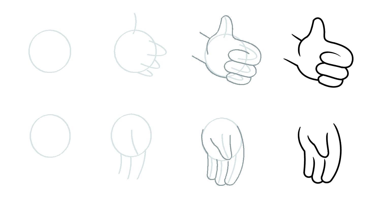 Como desenhar mãos dos desenhos animados