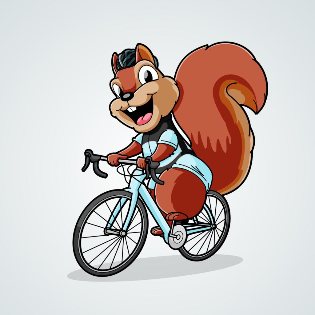 Cartoon Squirrel Riding Bike