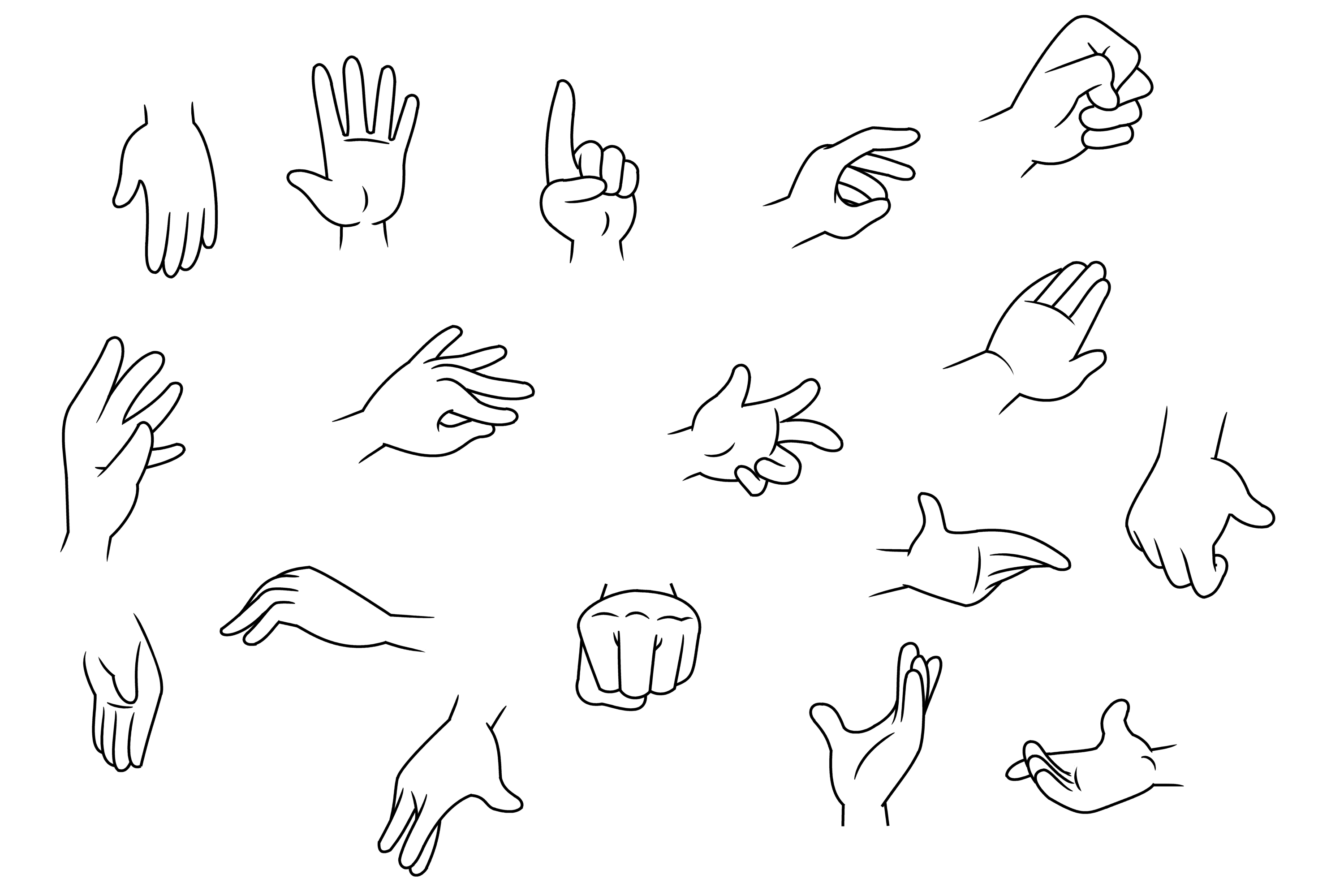 Five finger cartoon hands