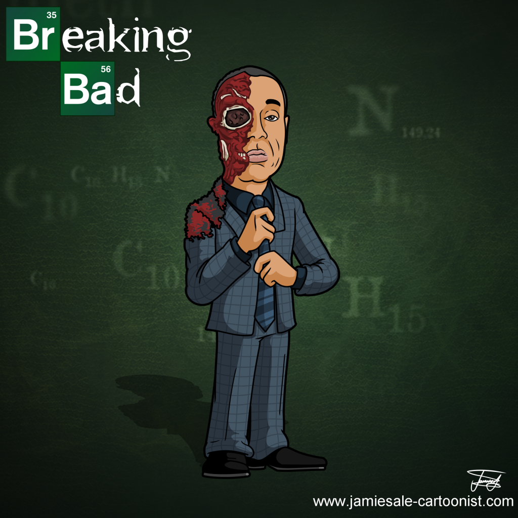 breaking bad gus face blown off cartoon character
