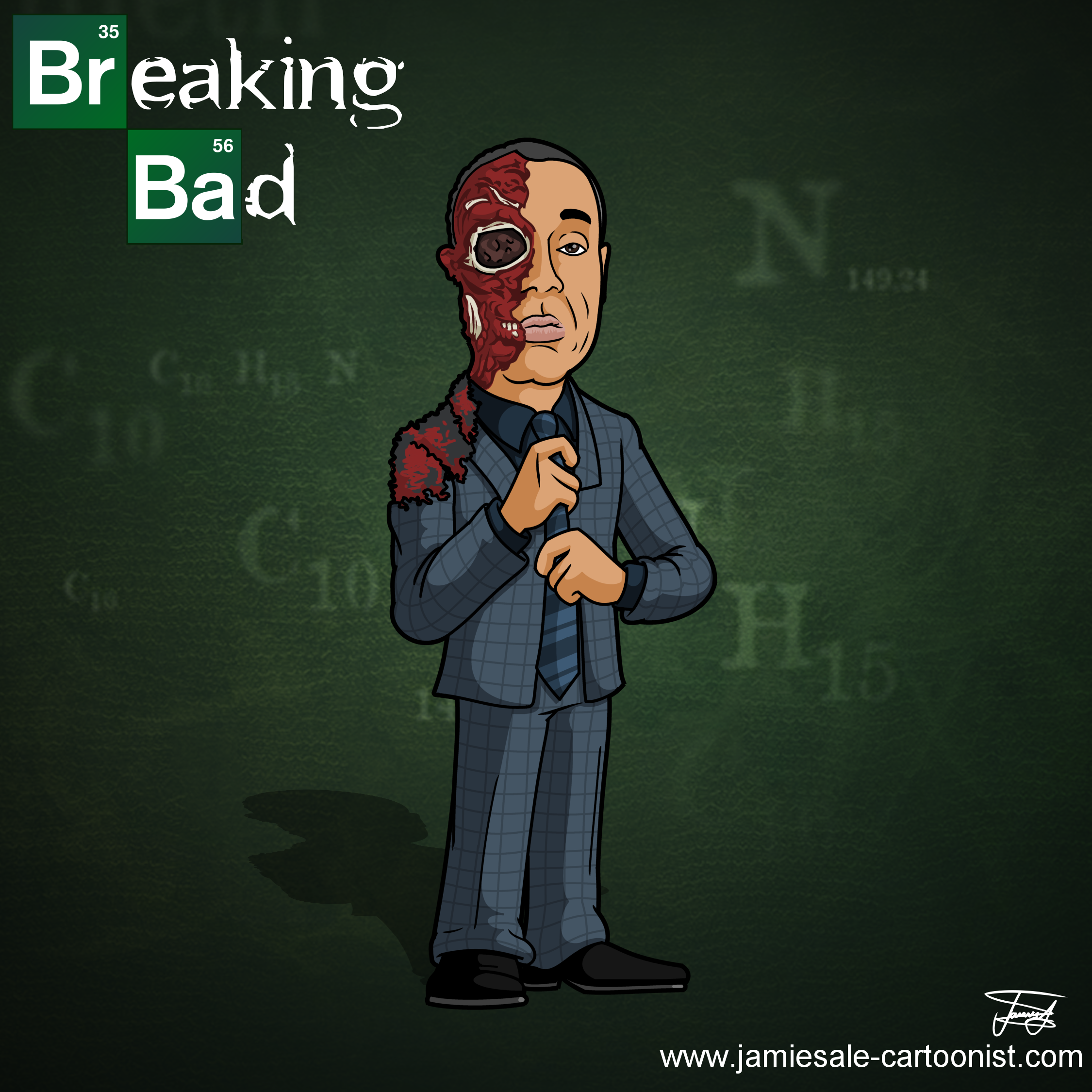 Breaking Bad Gus Face Blown Off Cartoon Character Cartoonist For Hire