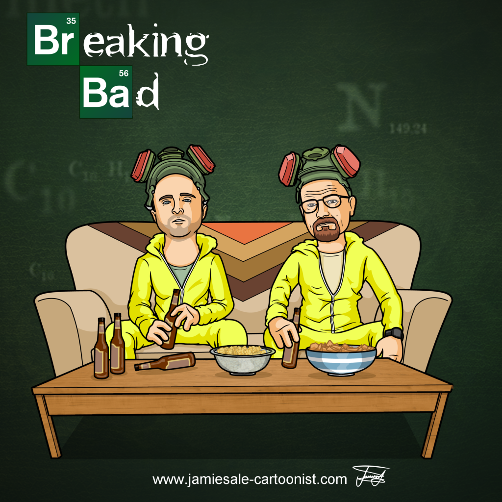 breaking bad walt jesse heisenberg sofa meth gear cartoon character